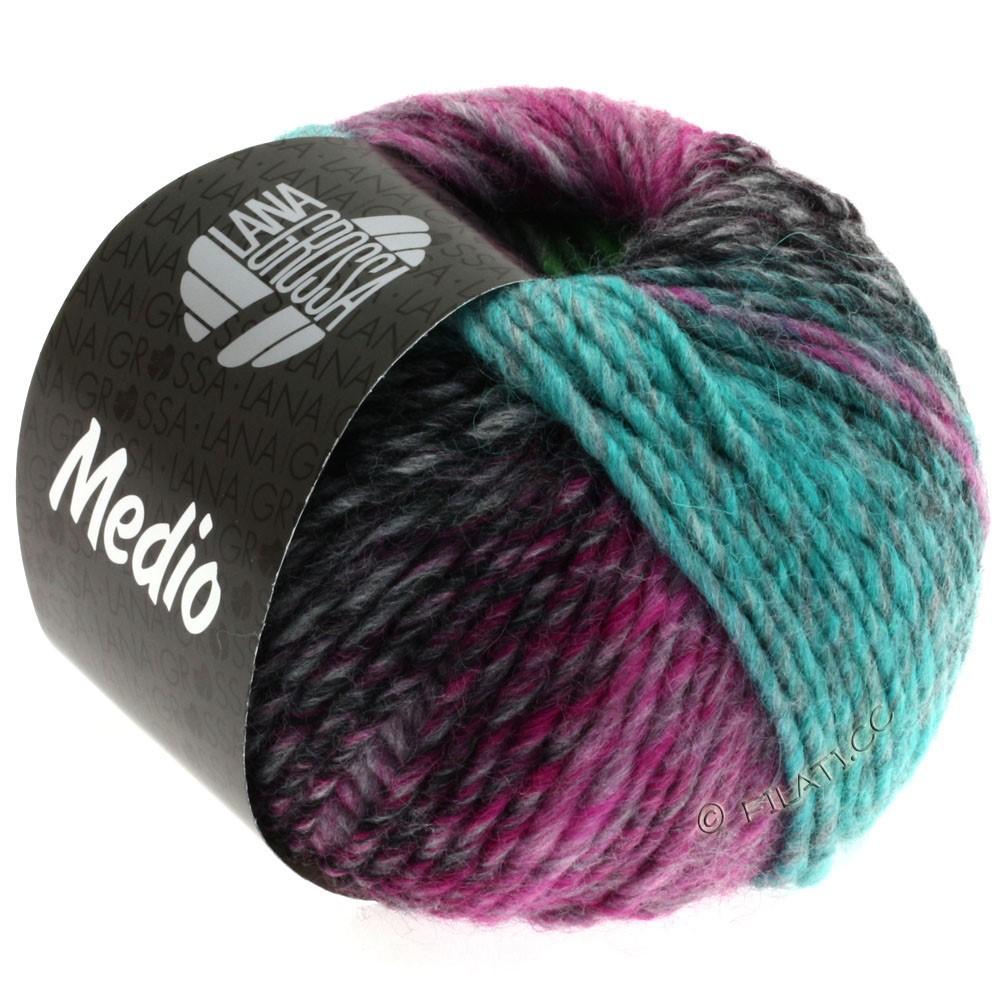 Lana Grossa MEDIO | 21-cyclamen/bleu clair/galet/gris/turquoise/beau vert/rose vif