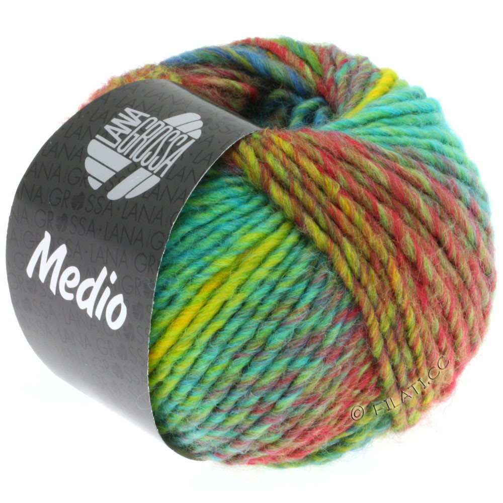 Lana Grossa MEDIO | 23-jaune maïs/turquoise/rouge/pistache/orange/pétrole