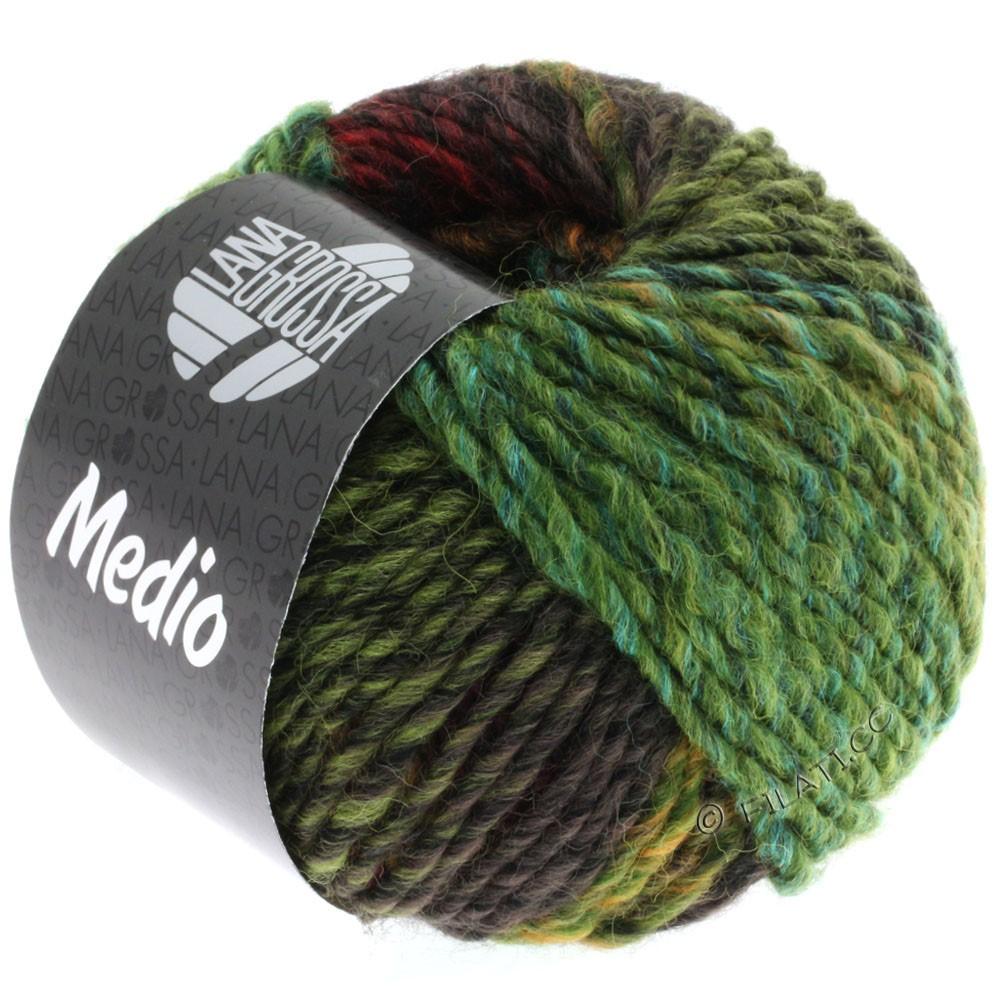 Lana Grossa MEDIO | 25-olive/beau vert/moutarde/turquoise/rouge foncé