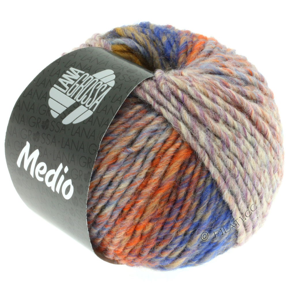 Lana Grossa MEDIO | 26-moutarde/mûre/kaki/orange/vert/lilas
