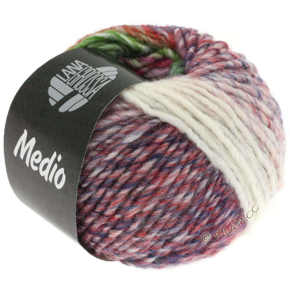 Lana Grossa MEDIO | 28-nature/gris vert/rose vif/aubergine/saumon/moutarde/rouge
