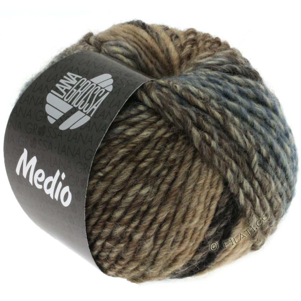 Lana Grossa MEDIO | 30-bleu nuit/gris foncé/grège/taupe/jean/nature/rose/pétrole