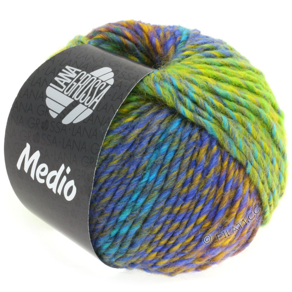 Lana Grossa MEDIO | 32-vert clair/jaune/turquoise/bleu/violet bleu