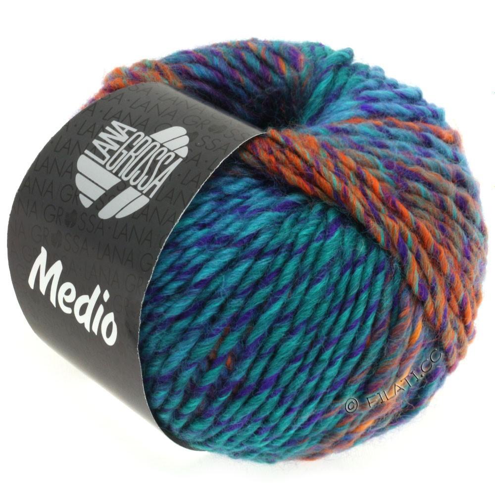 Lana Grossa MEDIO | 33-bleu nuit/pétrole foncé/violet/vert clair/orange/bleu