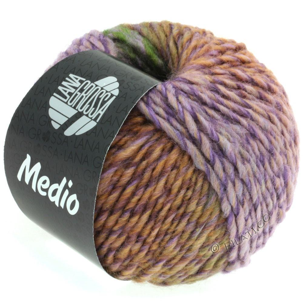 Lana Grossa MEDIO | 36-gris pourpre/rose/vert foncé/violet bleu/lilas