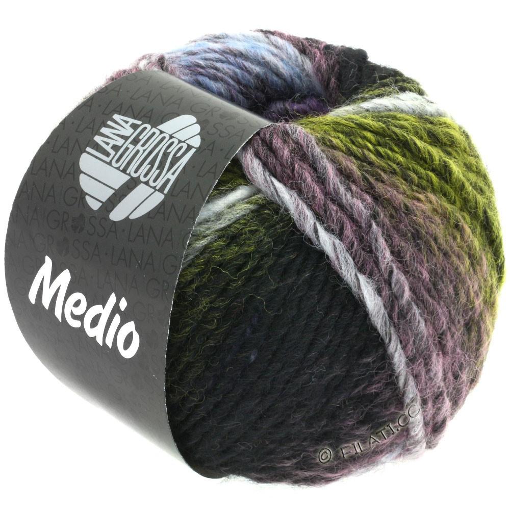 Lana Grossa MEDIO | 38-jaune/anthracite/écru/lilas/bleu clair/pêche/vert mousse