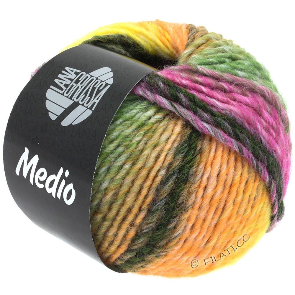 Lana Grossa MEDIO | 39-pêche/jaune/écru/taupe/beige/vert mousse/violet rouge