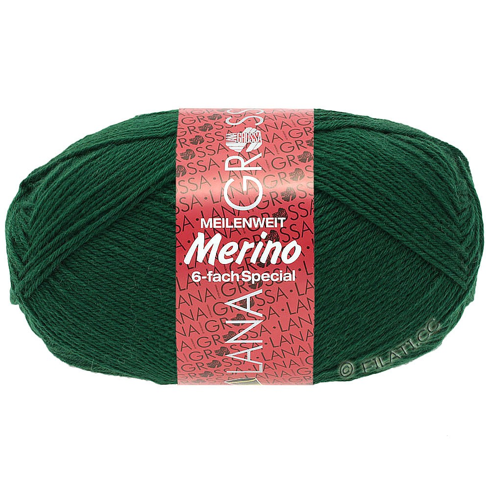 Lana Grossa MEILENWEIT 6-FACH 150g Merino | 4-vert bouteille