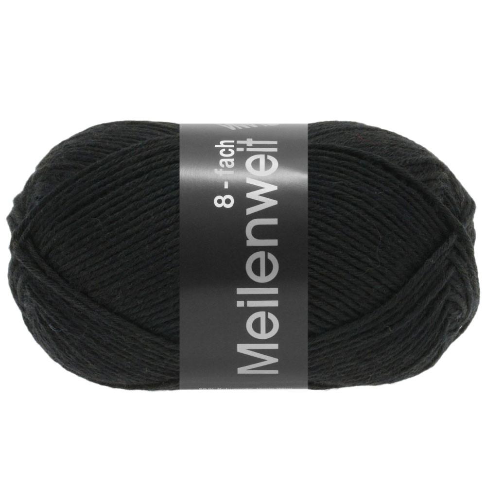 Lana Grossa MEILENWEIT 8-FACH 100g Uni | 9558-noir