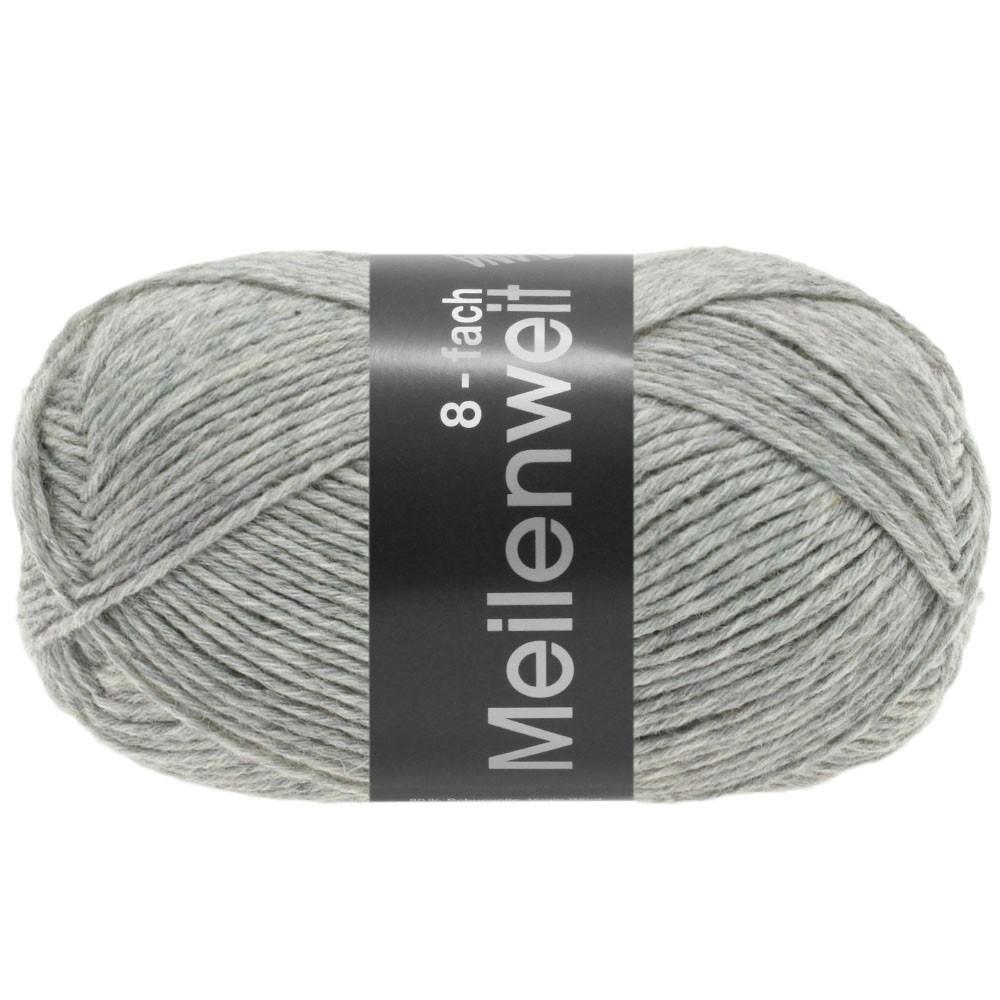 Lana Grossa MEILENWEIT 8-FACH 100g Uni | 9564-gris clair chiné
