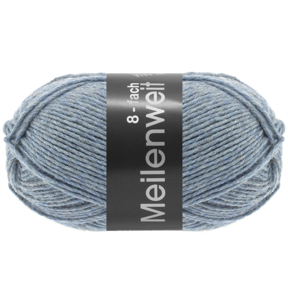 Lana Grossa MEILENWEIT 8-FACH 100g Uni | 9659-bleu gris chiné