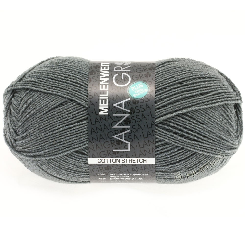 Lana Grossa MEILENWEIT 100g Cotton Stretch | 8011-gris foncé