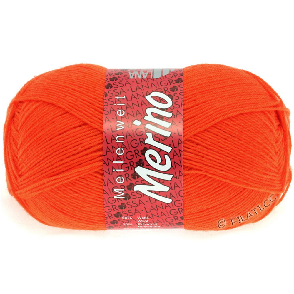 Lana Grossa MEILENWEIT 100g Merino Uni | 2036-orange néon
