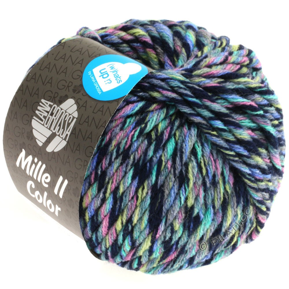 Lana Grossa MILLE II Color/Moulinè | 806-jean/rose/jaune/turquoise/bleu nuit chiné