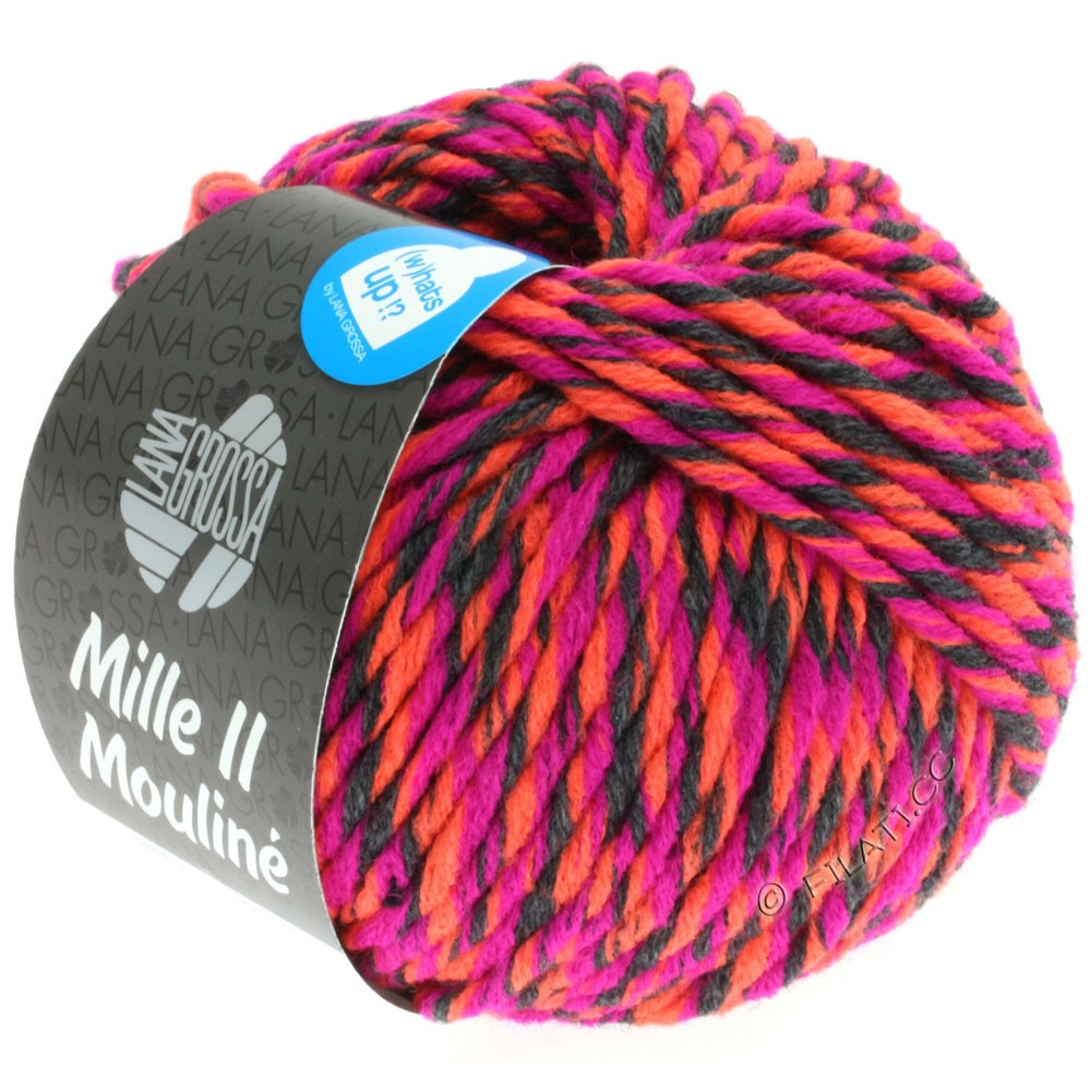 Lana Grossa MILLE II Color/Moulinè | 601-cyclamen/anthracite/orange néon