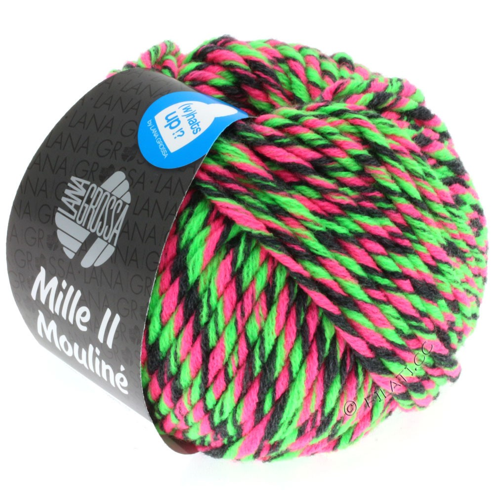 Lana Grossa MILLE II Color/Moulinè | 602-rose vif néon/vert néon/anthracite