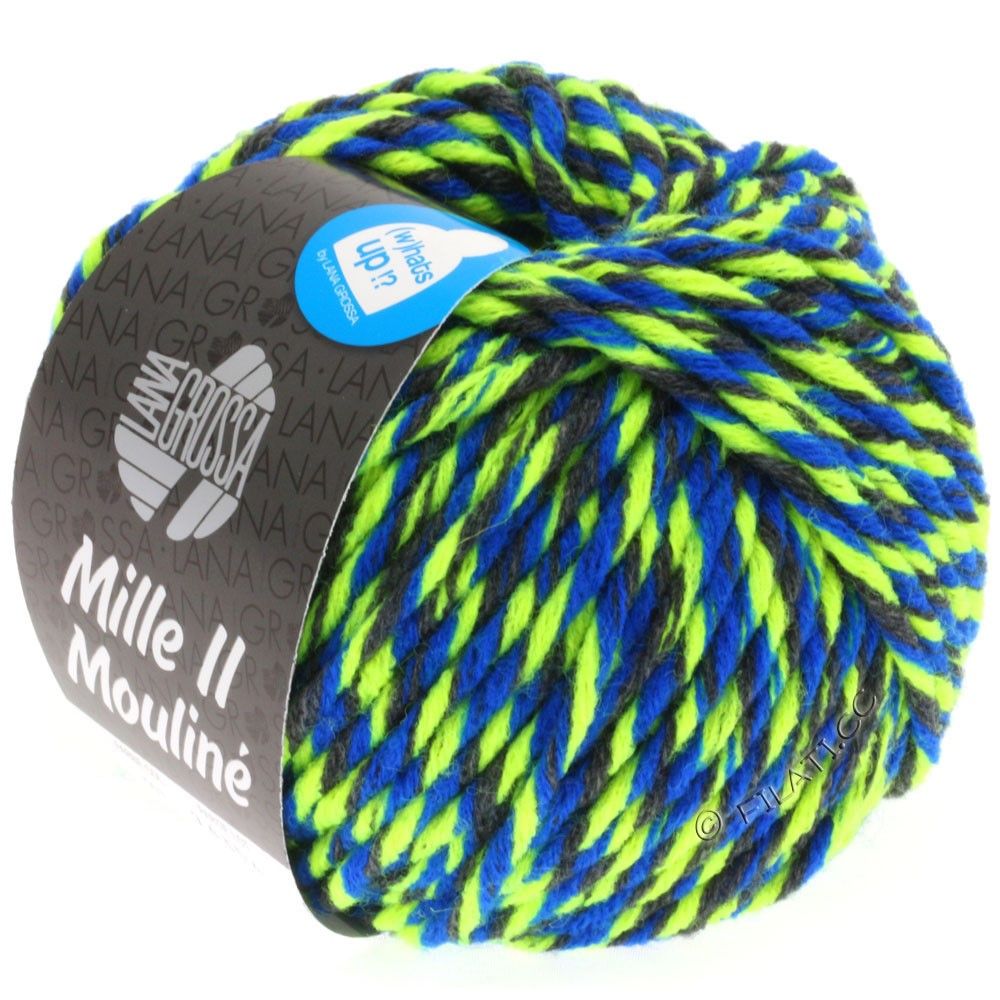 Lana Grossa MILLE II Color/Moulinè | 603-anthracite/jaune néon/bleu