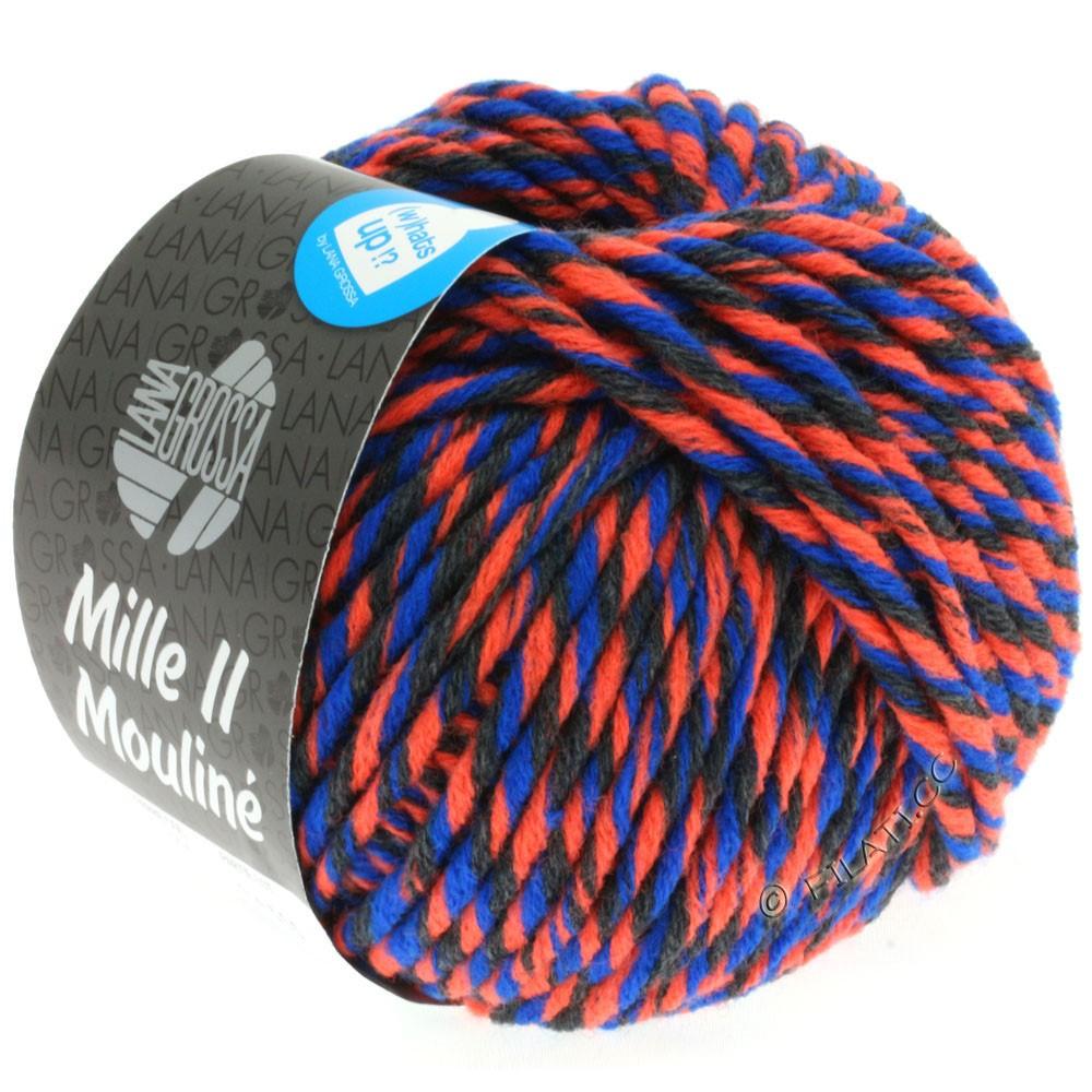 Lana Grossa MILLE II Color/Moulinè | 604-orange néon/anthracite/bleu