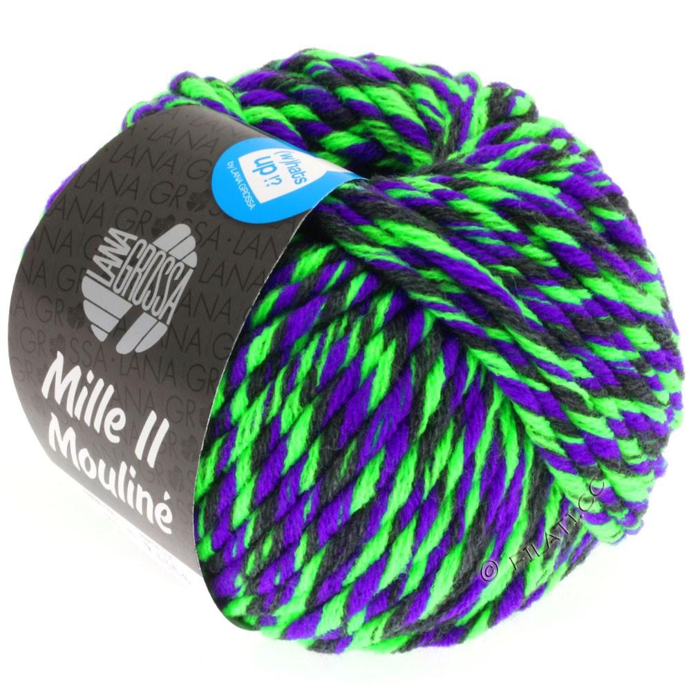 Lana Grossa MILLE II Color/Moulinè | 605-vert néon/violet/anthracite