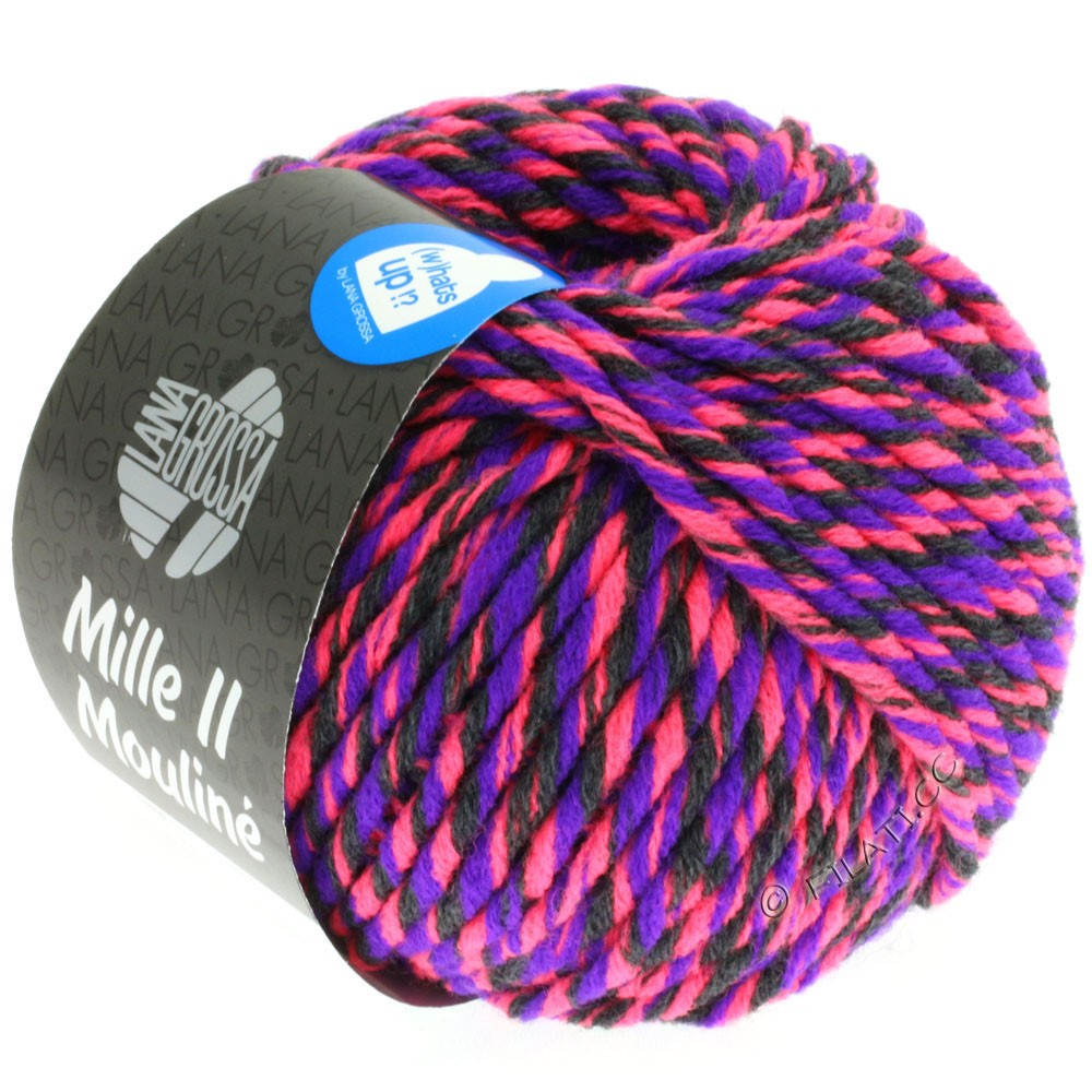 Lana Grossa MILLE II Color/Moulinè | 606-rose vif néon/violet/anthracite