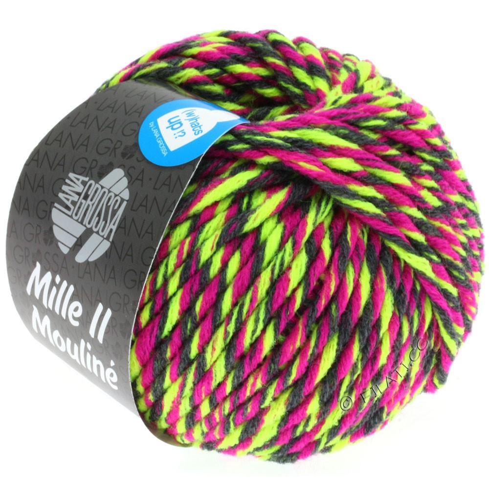 Lana Grossa MILLE II Color/Moulinè | 607-jaune néon/cyclamen/anthracite