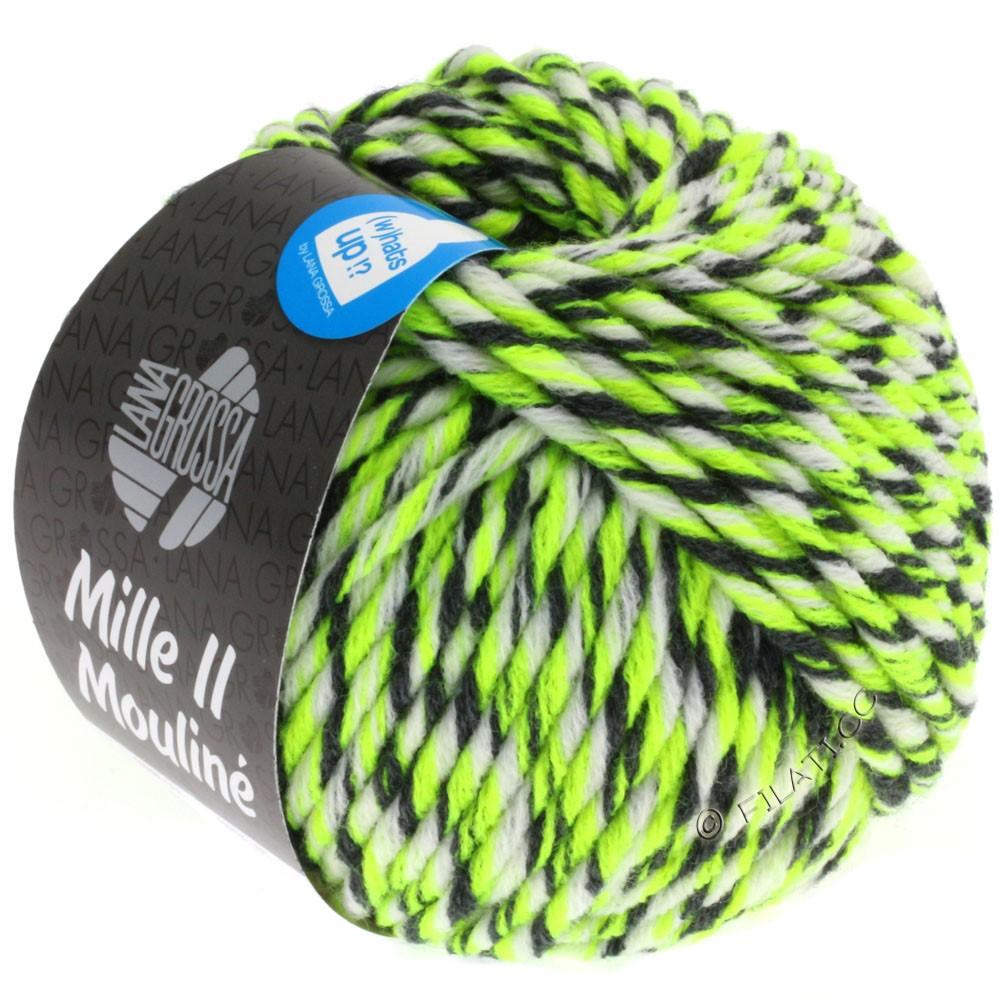 Lana Grossa MILLE II Color/Moulinè | 608-jaune néon/blanc/anthracite