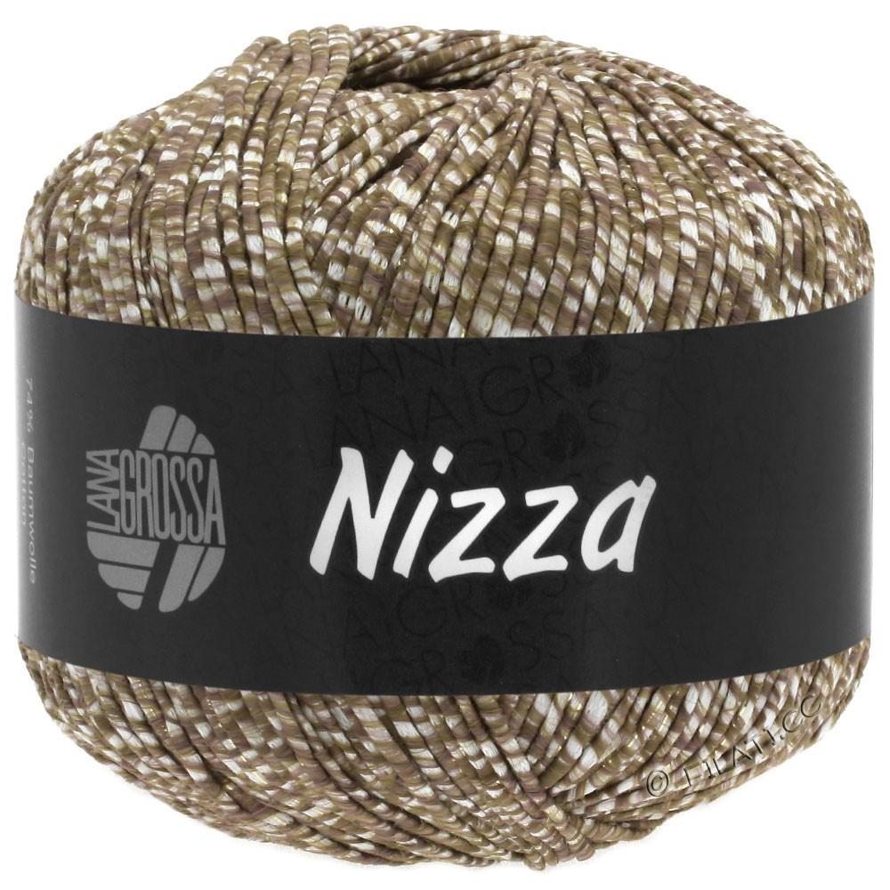 Lana Grossa NIZZA | 10-blanc/brun gris/or