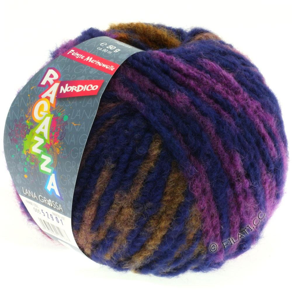 Lana Grossa NORDICO (Ragazza) | 05-violet rouge/violet bleu/chameau