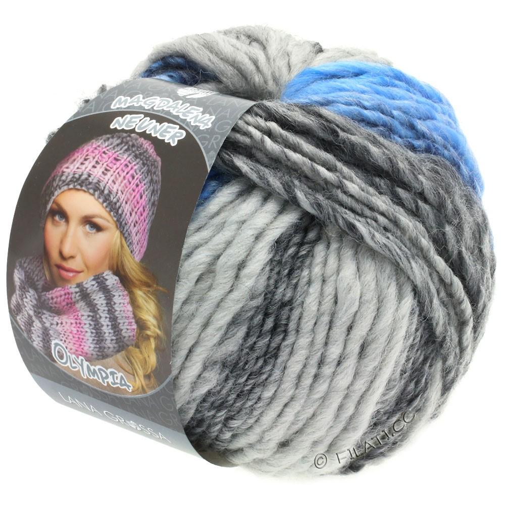 Lana Grossa OLYMPIA Grey | 802-gris foncé/gris clair/jean/centaurée