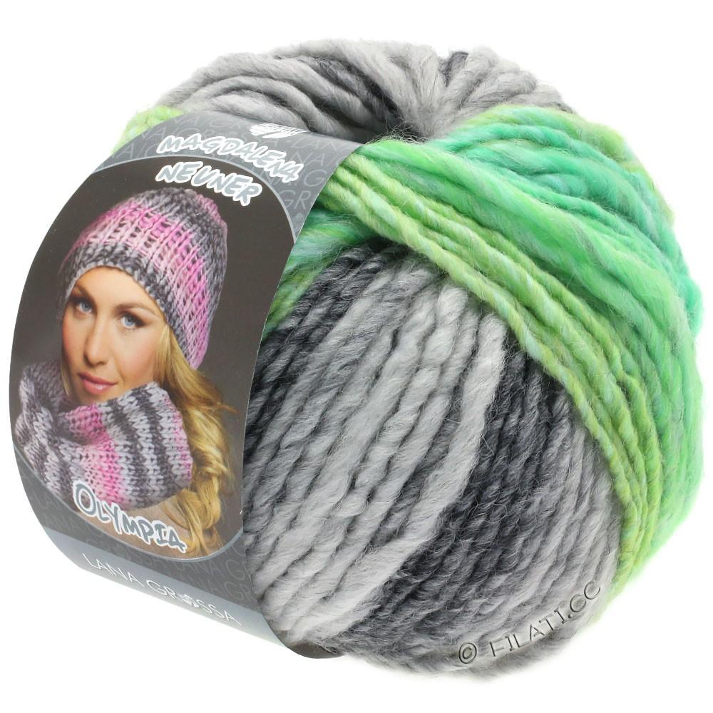 Lana Grossa OLYMPIA Grey | 803-gris foncé/gris clair/vert jaune/vert jade