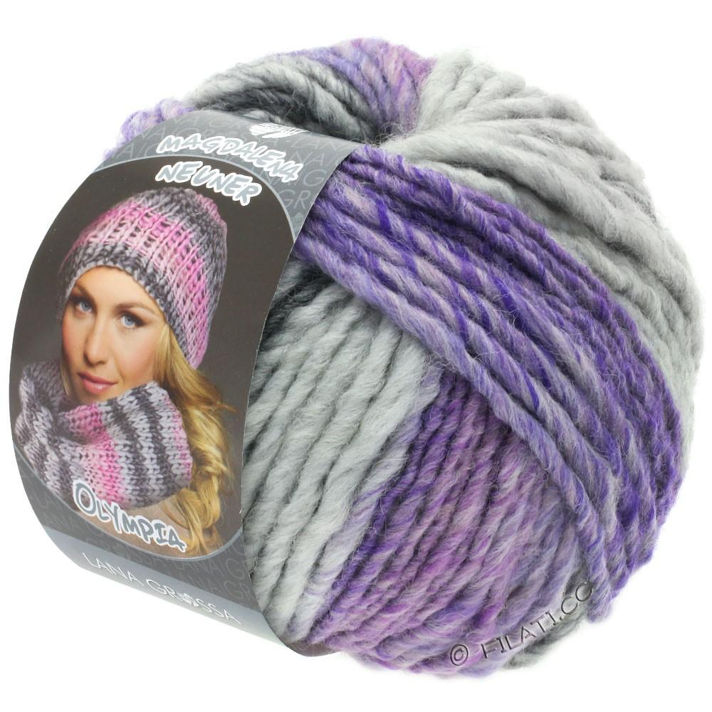 Lana Grossa OLYMPIA Grey | 804-gris foncé/gris clair/lavande/violet rouge