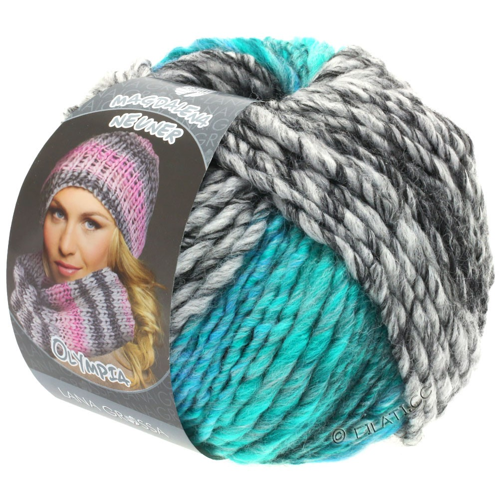 Lana Grossa OLYMPIA Grey | 808-anthracite/gris foncé/gris clair/vert turquoise/bleu turquoise