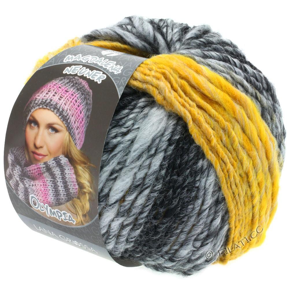 Lana Grossa OLYMPIA Grey | 810-anthracite/gris foncé/gris clair/jaune chiné
