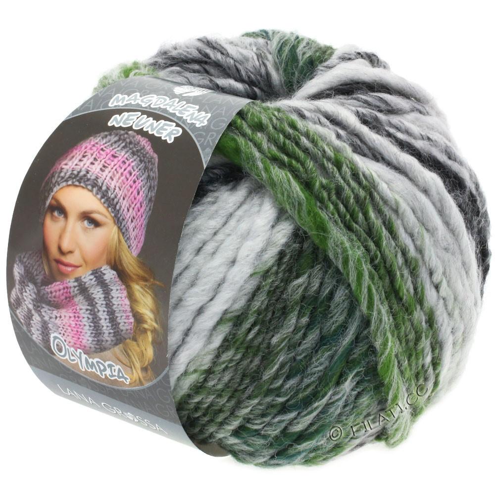 Lana Grossa OLYMPIA Grey | 811-anthracite/gris foncé/gris clair/vert mousse chiné