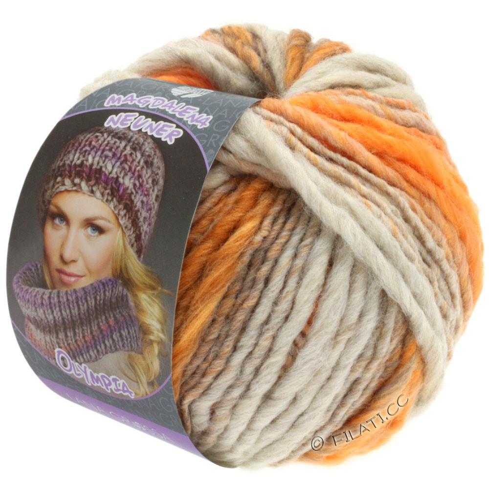 Lana Grossa OLYMPIA Pastello | 611-gris clair/orange/orange brun/orange gris