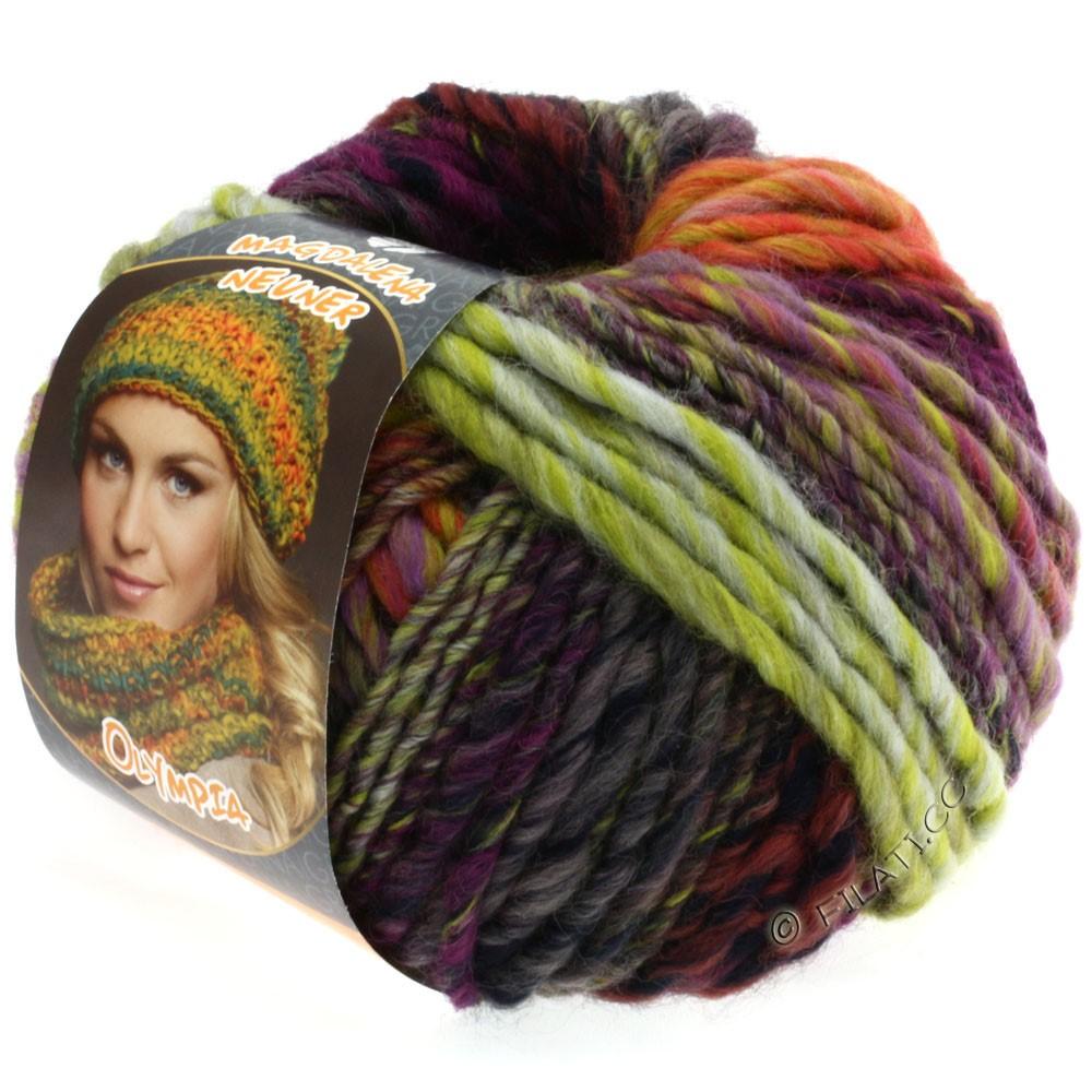 Lana Grossa OLYMPIA Classic | 024-vert jaune/aubergine/lilas/vert tendre/cyclamen
