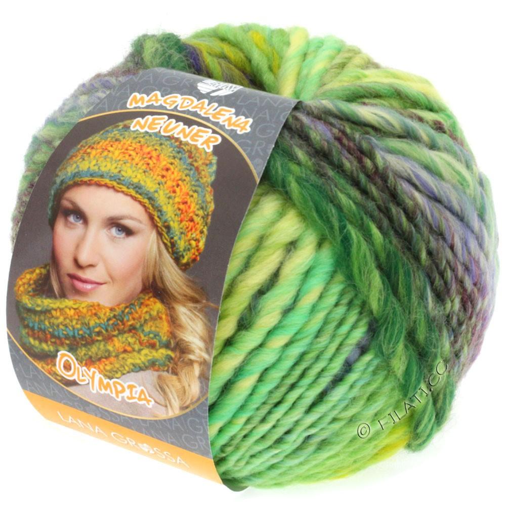 Lana Grossa OLYMPIA Classic | 051-vert clair/émeraude/violet/vert foncé/pourpre rouge/jaune vert