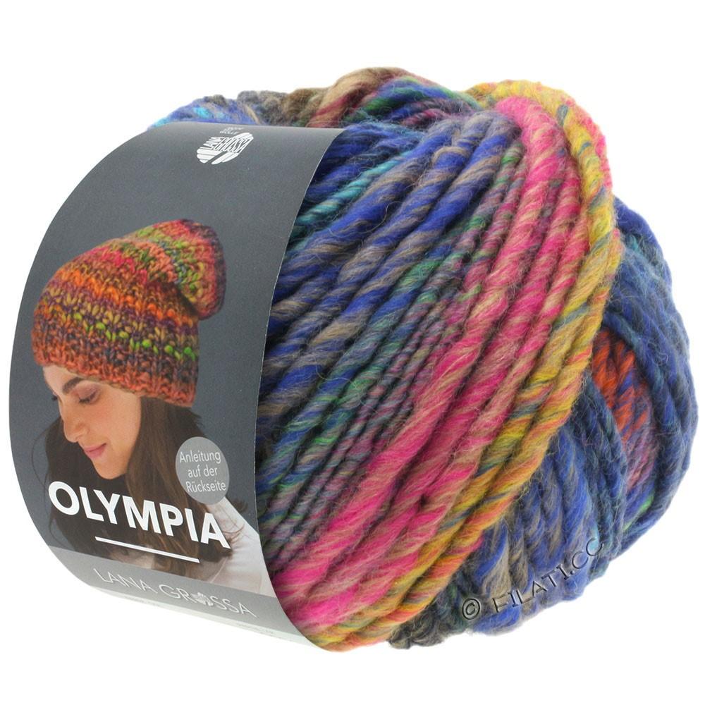 Lana Grossa OLYMPIA Classic | 065-rose vif/cuivre/pétrole/kaki/bleu foncé/jaune vert/turquoise