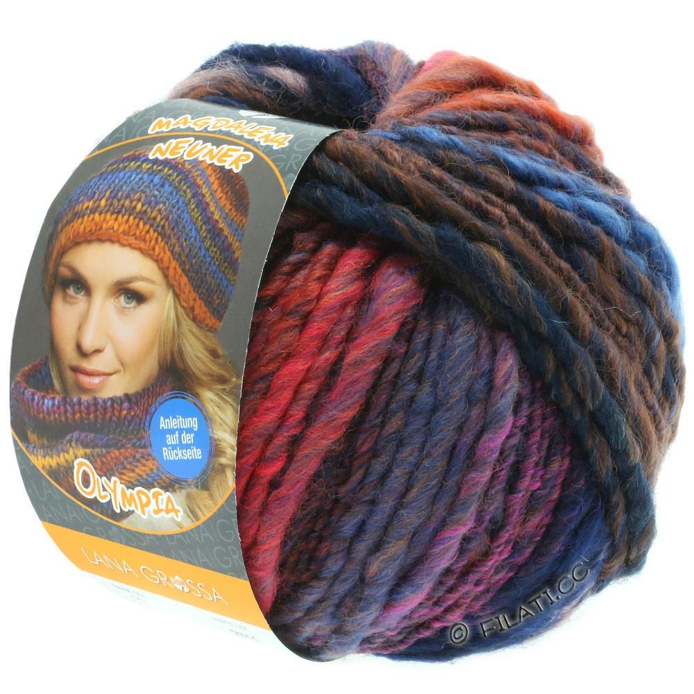 Lana Grossa OLYMPIA Classic | 067-bleu foncé/orange/rose vif/bleu gris/rouge/bleu