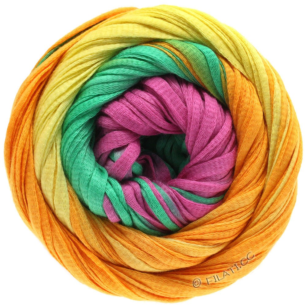 Lana Grossa PRIMAVERA | 124-jaune/orange/émeraude/rose vif