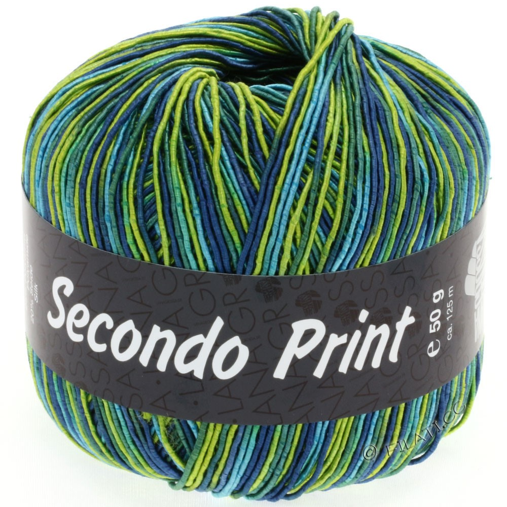 Lana Grossa SECONDO Print II | 502-citron vert/turquoise/pétrole/jean/émeraude