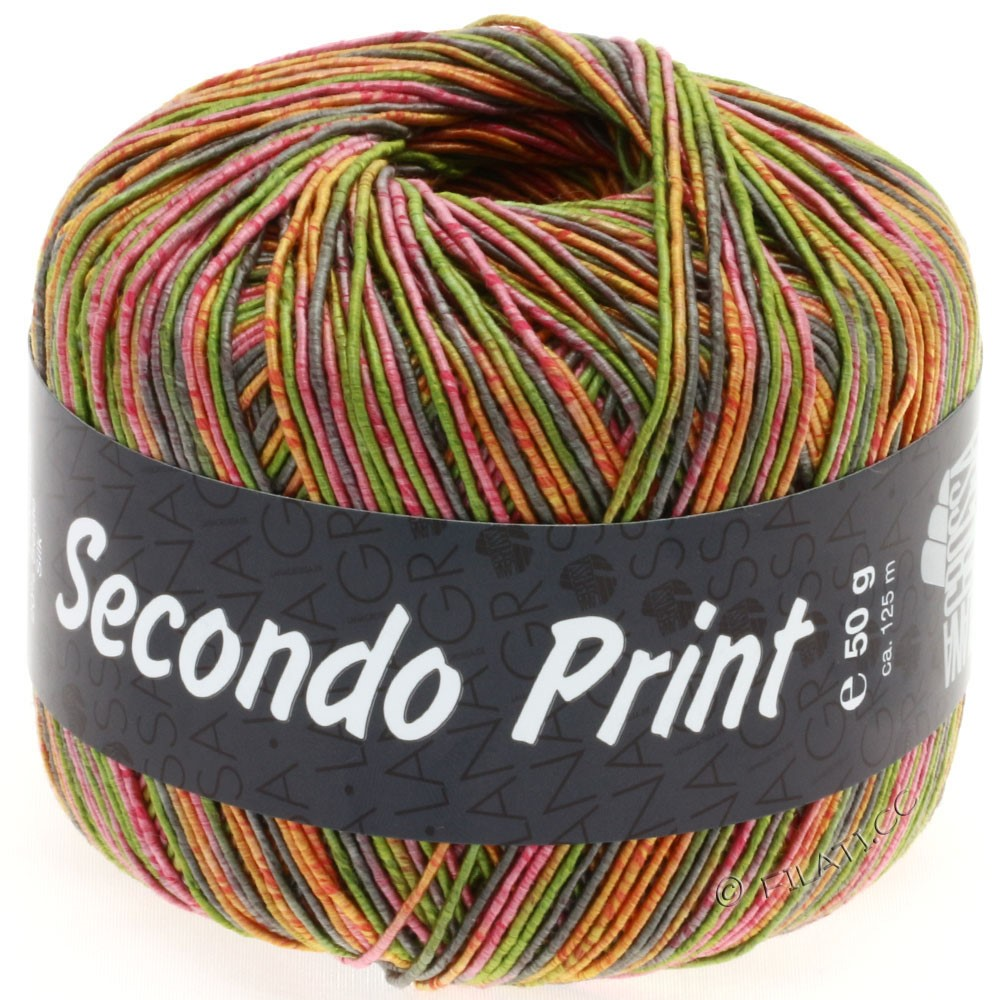 Lana Grossa SECONDO Print II | 503-olive/rose vif/orange/taupe