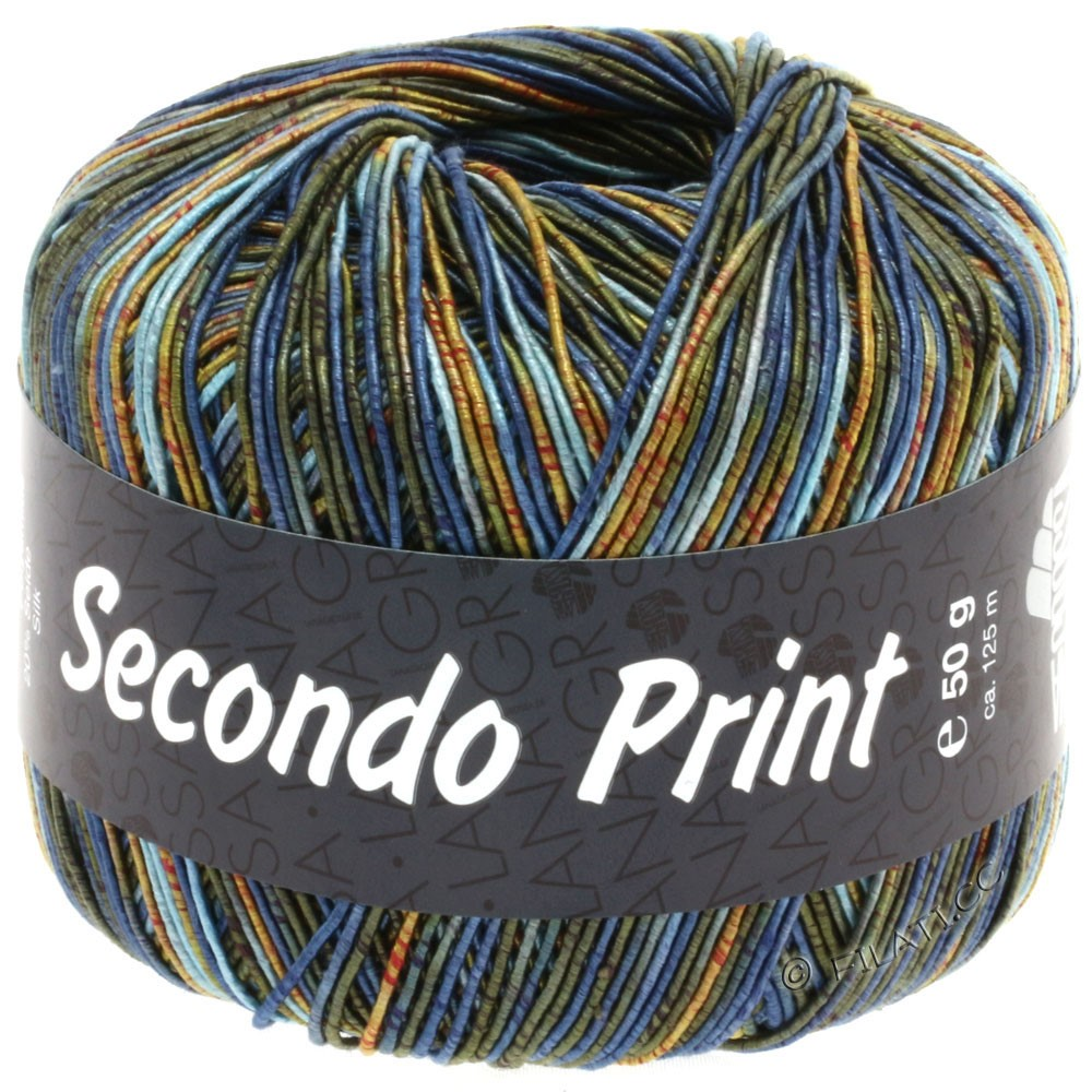 Lana Grossa SECONDO Print II | 504-bleu clair/jean/orange/olive foncé/doré