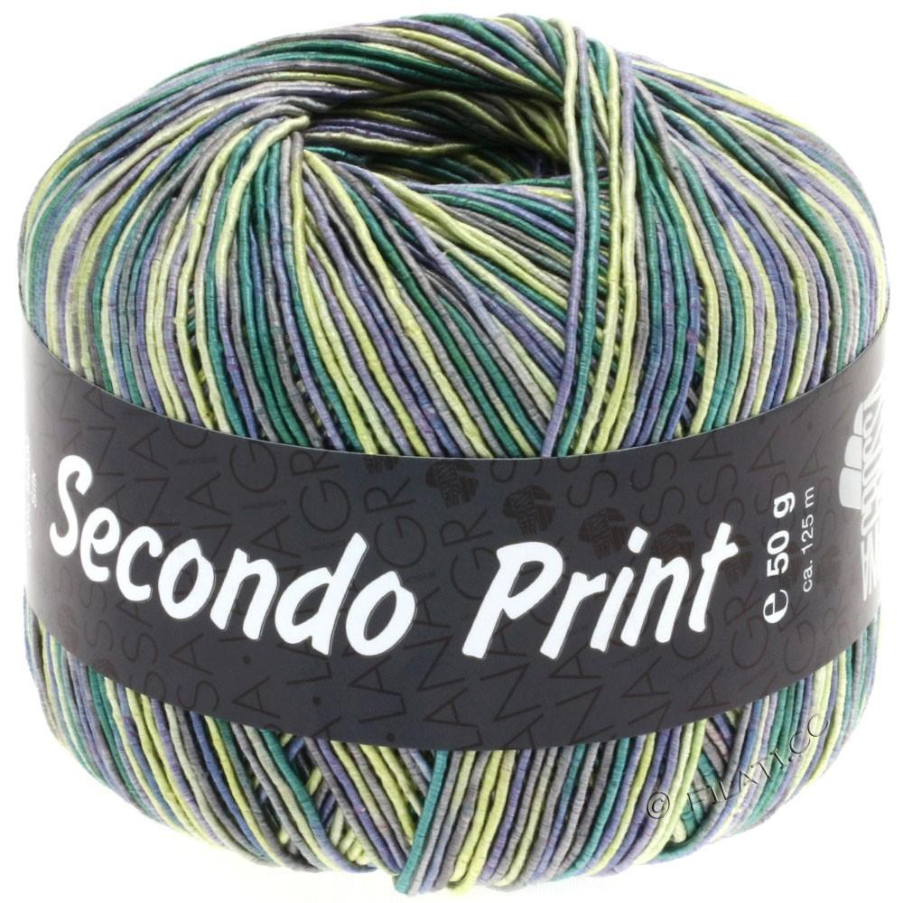 Lana Grossa SECONDO Print II   506-jean/jaune/émeraude/gris foncé