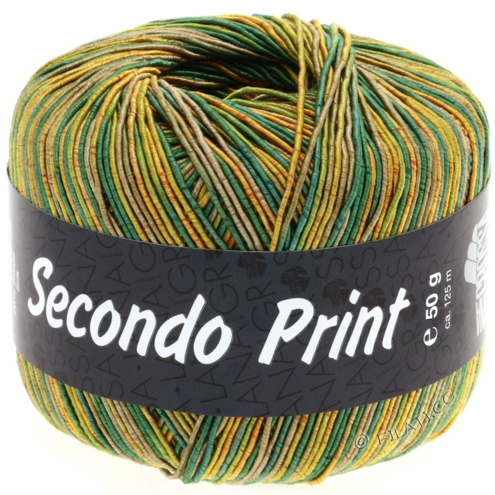 Lana Grossa SECONDO Print II | 508-jaune doré/vert/roseau/olive