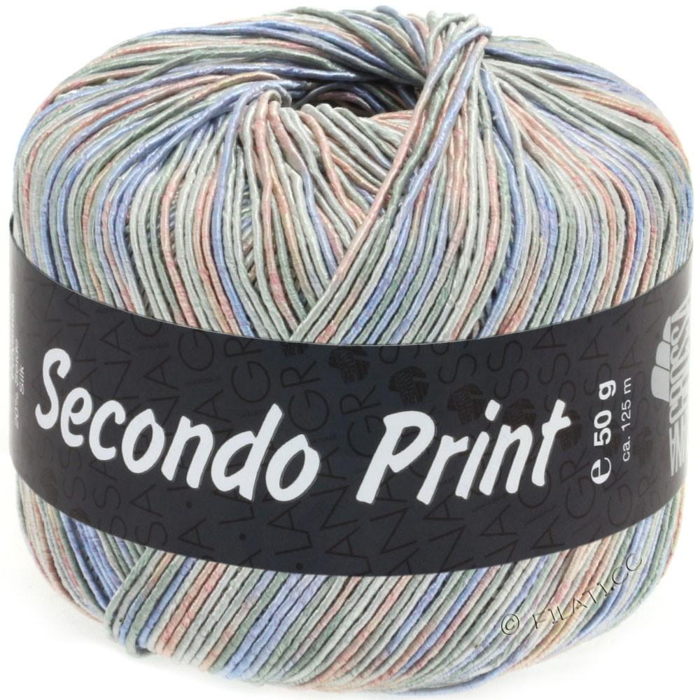 Lana Grossa SECONDO Print II | 511-gris clair/jean/rose/gris vert
