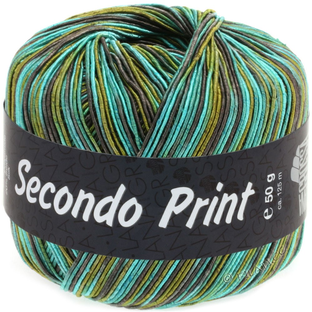Lana Grossa SECONDO Print II | 512-émeraude/brun gris/olive/pétrole