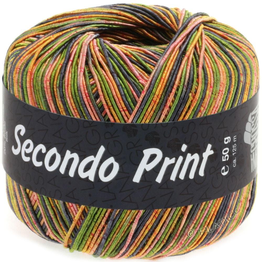 Lana Grossa SECONDO Print II | 513-olive/bleu gris/orange/jaune doré