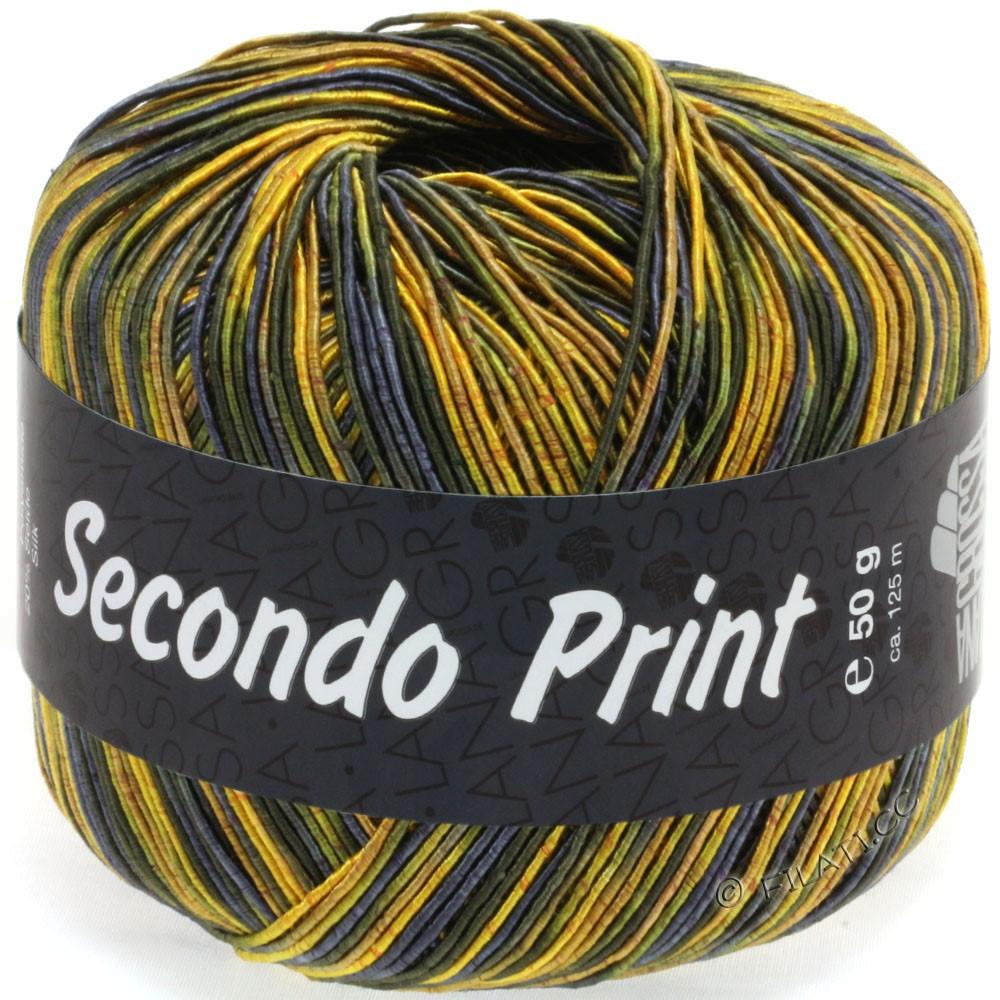 Lana Grossa SECONDO Print II | 514-jaune/olive foncé/bleu nuit
