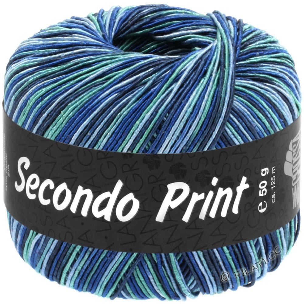 Lana Grossa SECONDO Print II | 517-bleu clair/royal/bleu nuit/bleu turquoise